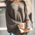 Brief Casual Loose Round Neck Batwing Sleeves Khaki Sweater