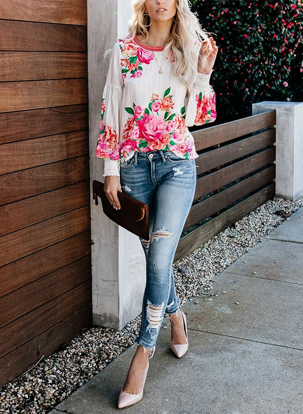 VALENCIA ROSE PRINTED BLOUSE