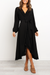 V Neckline With Ruffle Lace Long Sleeve Black Midi Dress