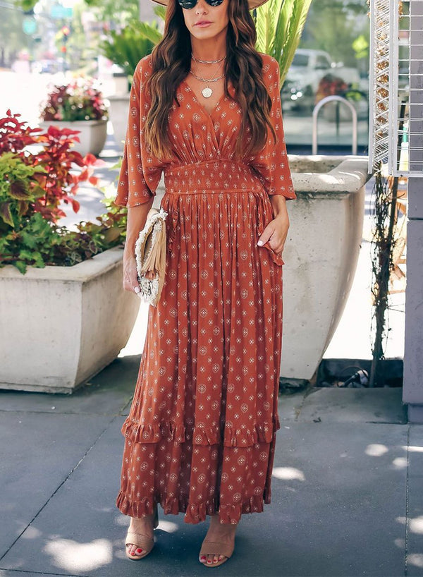 V-NECK TUNIC MAXI DRESS