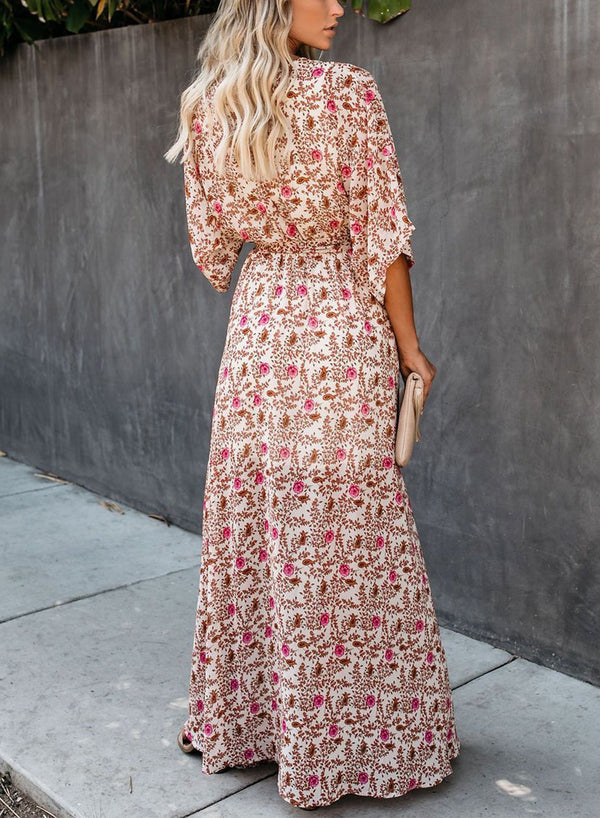 THROWBACK FLORAL KIMONO MAXI DRESS