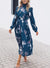 Navy Floral Print High Frill Neckline Long Sleeve Pleated Dress