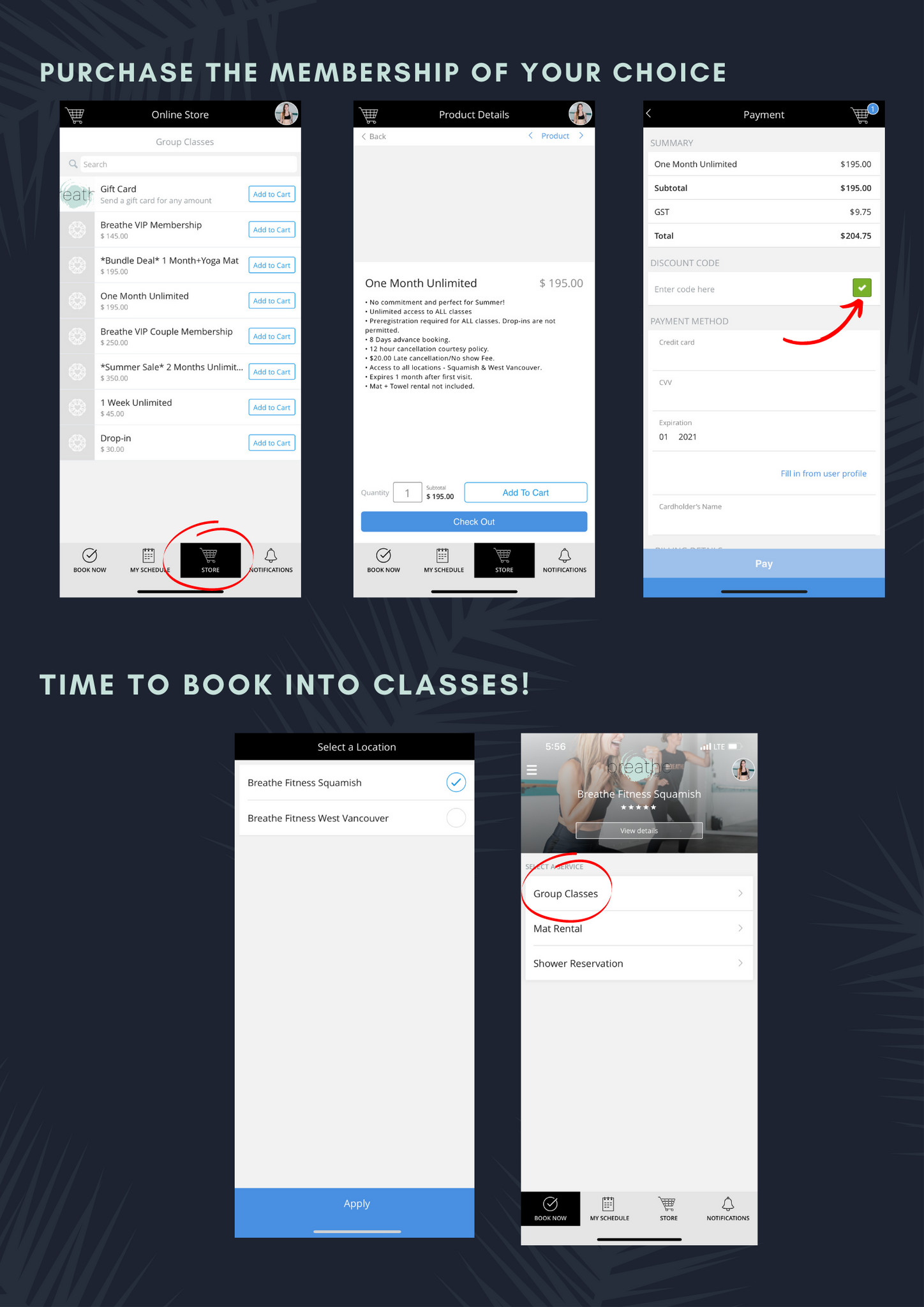 how to book into classes