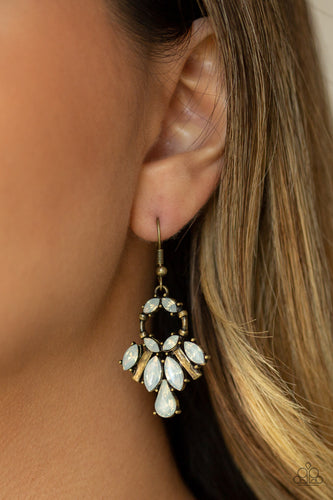 Glowing Allure - Brass Paparazzi Jewelry Earrings