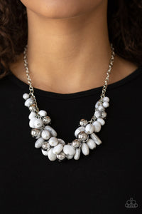 Full Out Fringe - White Paparazzi Jewelry Necklace