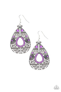 Malibu Gardens - Purple Paparazzi Jewelry Earrings