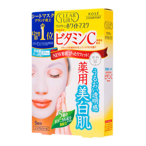 KOSE Clear Turn Brightening Mask (5pcs/box)-Vitamin C/ Hyaluronic Acid/Collagen