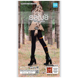 SALUA Double Terry Stocking 990M (1 pair) - Black / Skin