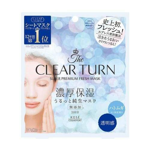 KOSE Clear Turn Premium Fresh Mask (3pcs/box)- Adlay/Hyaluronic acid/Collagen - Lifecode Boutique