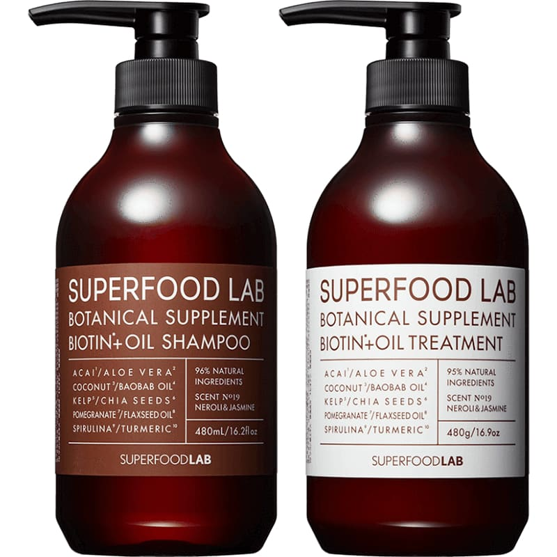 SUPERFOOD Lab Biotin + OIL 強化保濕系列 Shampoo/Treatment (480ml) - Lifecode Boutique