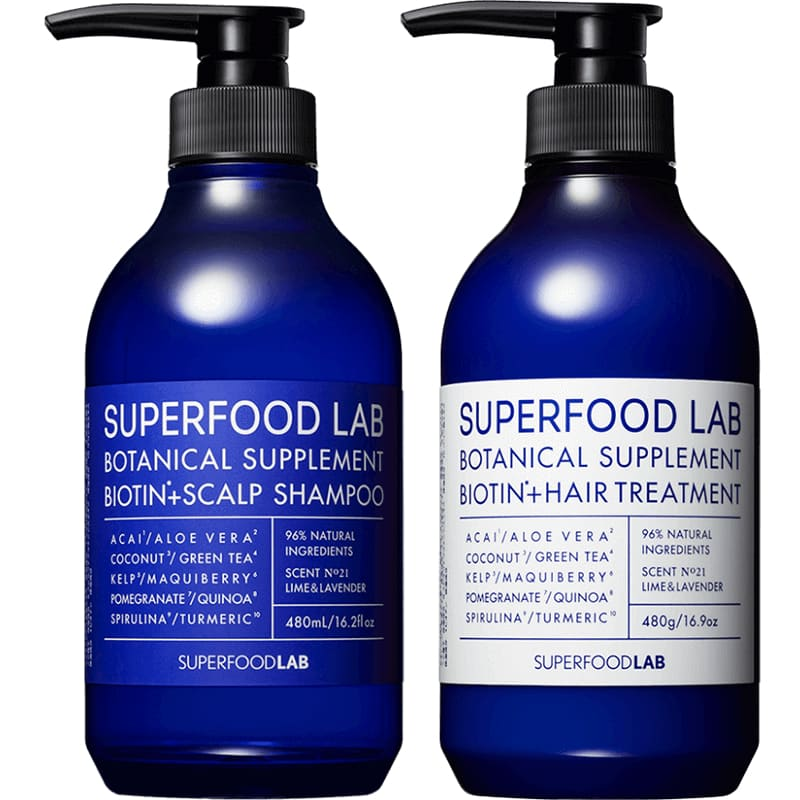 SUPERFOOD Lab Biotin + Scalp 藍瓶頭皮清爽系列 Shampoo/Treatment (480ml) - Lifecode Boutique