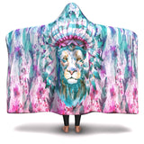 Hooded Blanket All-Over 4th  Design Hippie Lion