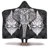 Hooded Blanket All-Over 17th  Design Mandala Elephant #1