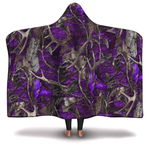 Hooded Blanket All-Over 8th  Design Purple Hunting