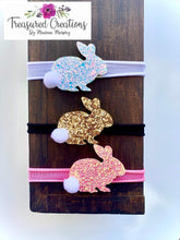 Load image into Gallery viewer, Glitter Easter Bunnies (Clip or headband)