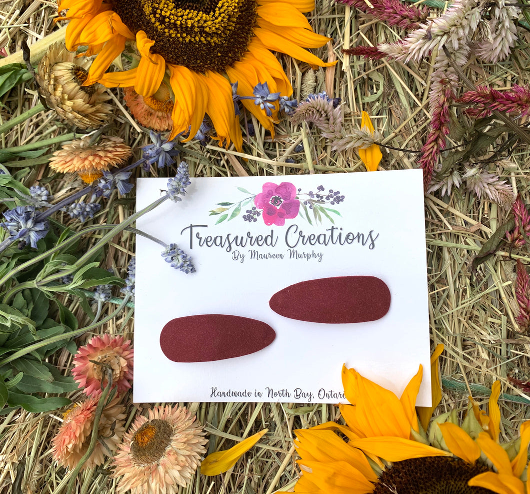 Burgundy Suede Snap Clips