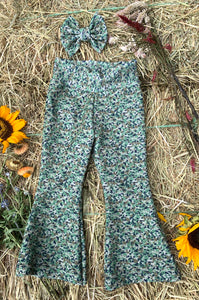 Green Camo Bell Bottoms & Bow (2T-3T)