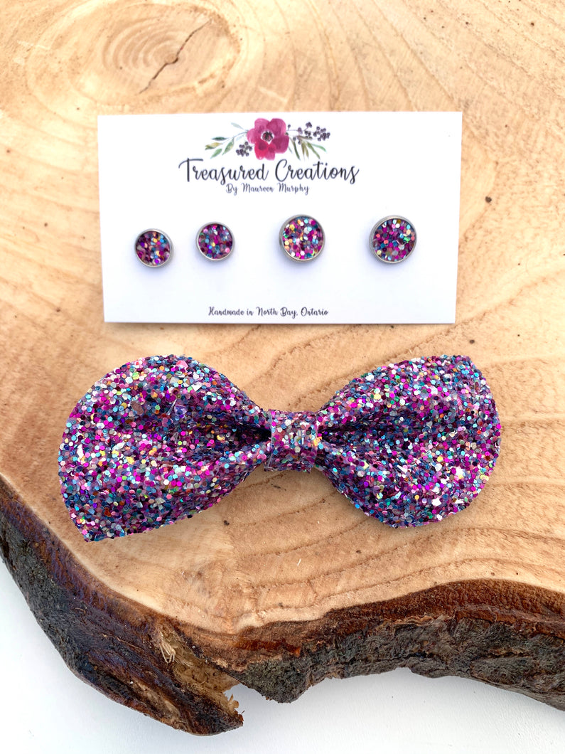 Purple Glitter on Point Bow / Earrings
