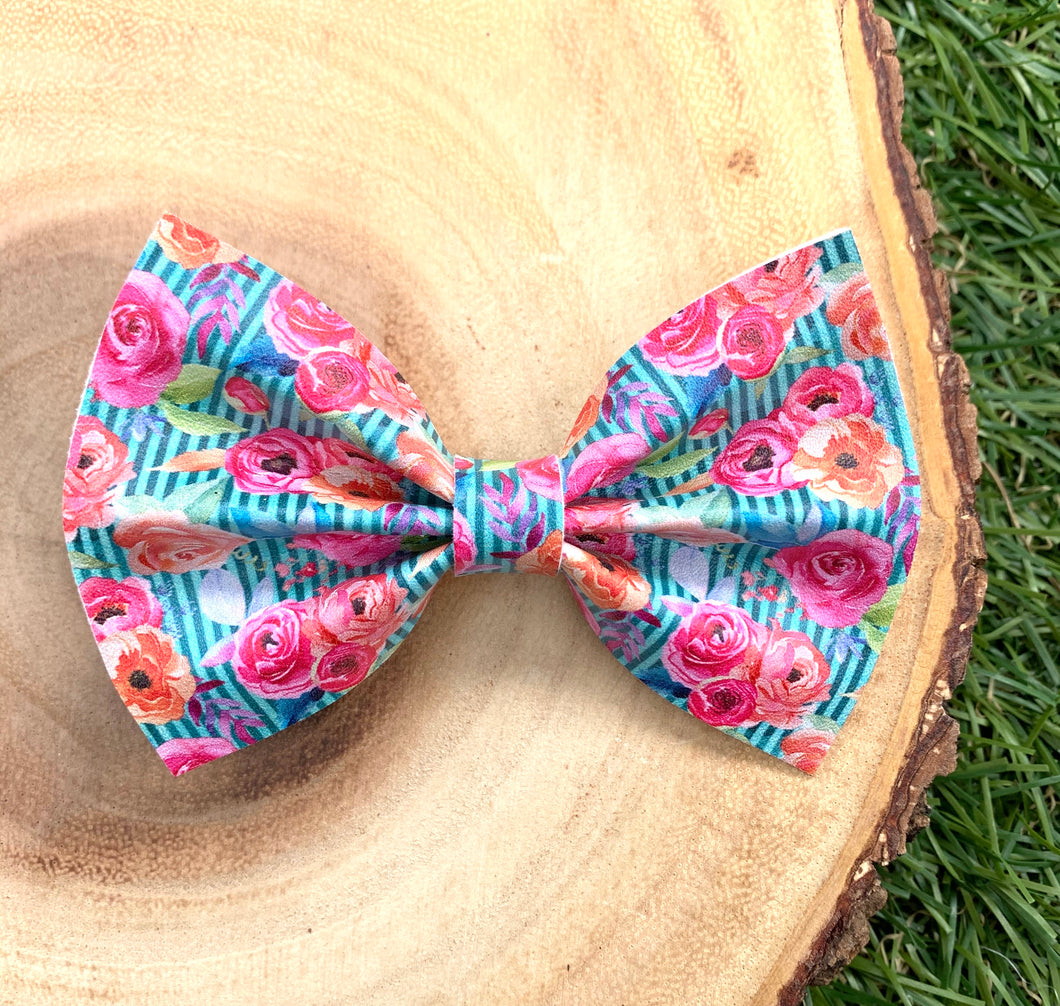 Teal Stripes Floral Bow