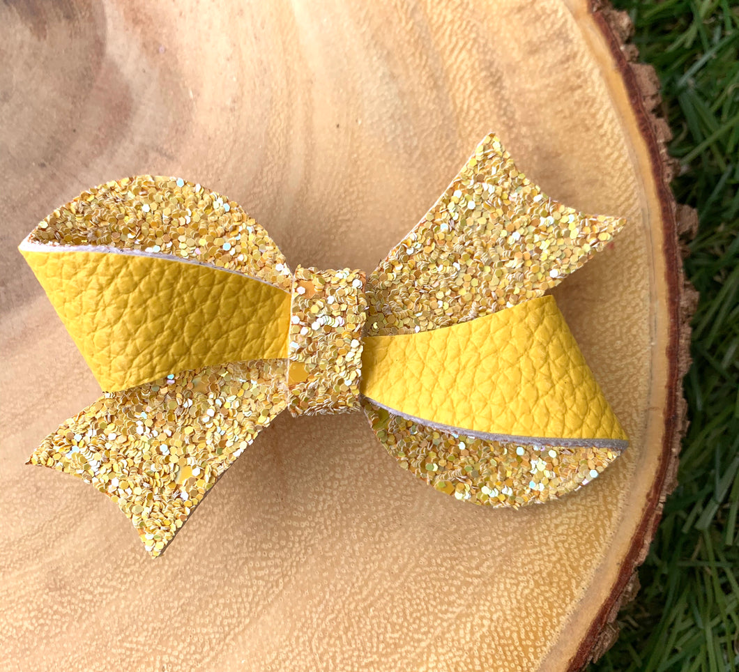 Yellow Glitter Double Sided Looped