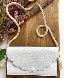 White Embossed Purses