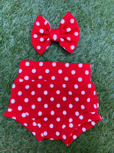Load image into Gallery viewer, Red Polka Dots Bummie & Bow Set