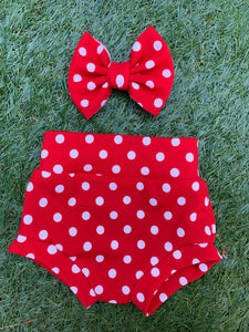 Red Polka Dots Bummie & Bow Set