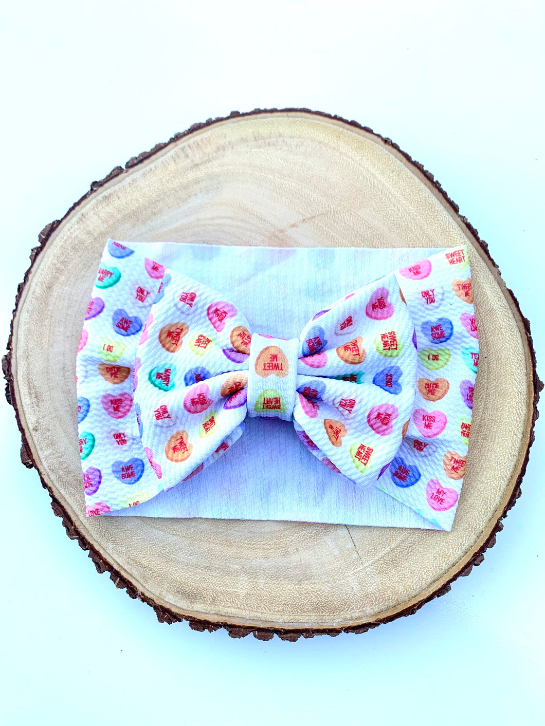 Conversation Hearts Bow Headwrap