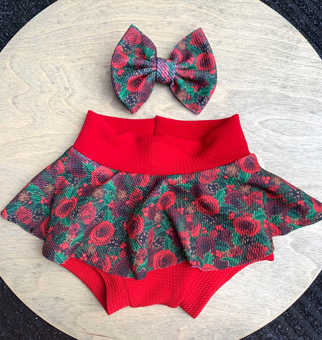 Christmas Red Roses Skirted Bummie & Bow