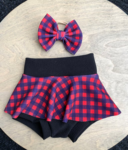 Navy Plaid Skirted Bummie & Bow