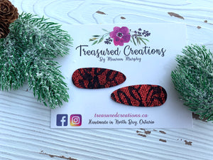 Red & Black Lace Snap Clips