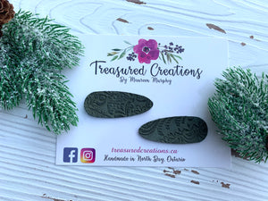 Green Lace Embossed Snap Clips