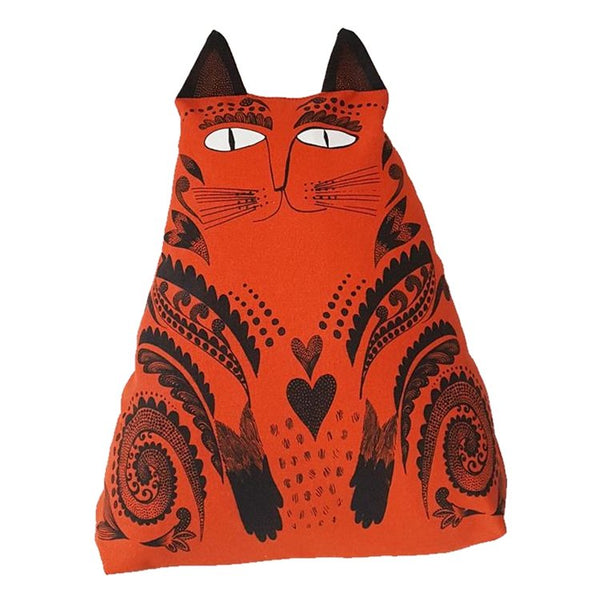 kitty cat cushion pillow interior soft furnishings decor cat lover gift orange