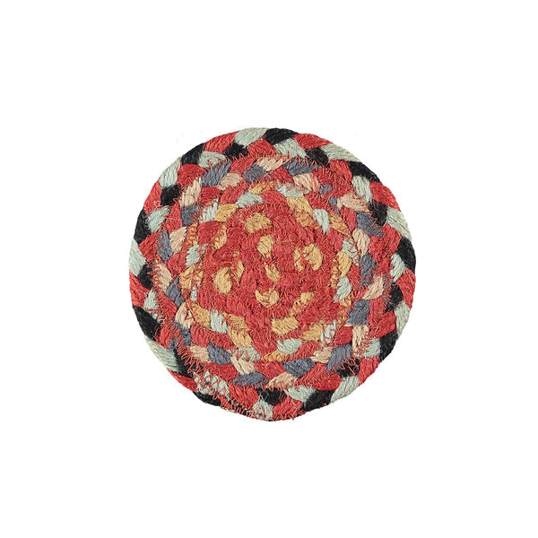 Braided Rug Organic Jute Coasters - Chilli