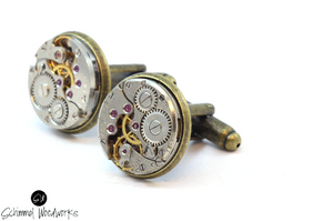 Men Steampunk Cufflinks with thick bezel - Luxury Handmade Bronze Vintage Watch Movement Steampunk Cufflinks / Cuff Links  Wedding Gift