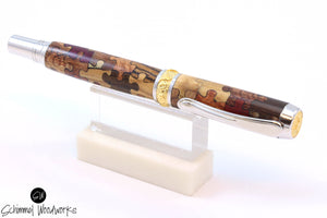 Handmade Schimmel Fountain & Rollerball Pen - Wood Puzzle Pieces with Rhodium & Gold accents - Comes in gift box