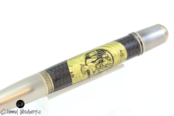 Handmade Schimmel Ballpoint Pen - Arrogant Bastard by Stone Brewery Bottle Cap Pen with Antique Metal Accents- Comes in gift box