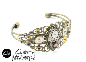 Steampunk Vintage Watch Movement Cuff Bracelet with Gears - Antique Brass Band - Comes in gift box