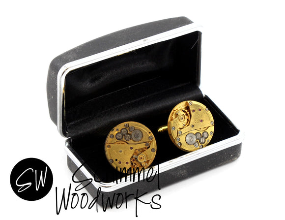 Mens Steampunk Cufflinks - Luxury Handmade Vintage Watch Movement Steampunk Cufflinks / Cuff Links  Wedding Gift Great Groomsmen Gift