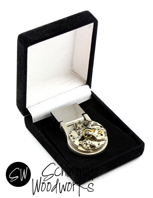Steampunk Money Clip - Luxury Handmade Vintage Watch Movement Steampunk Money Clip -  Gift for Father, for Wedding or Groomsmen! Comes in gift box