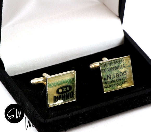 Handmade Schimmel Vintage Stock Cufflinks - Luxury Handmade Chrome Cufflinks / Cuff Links. Great gift for banker, businessman, wedding!
