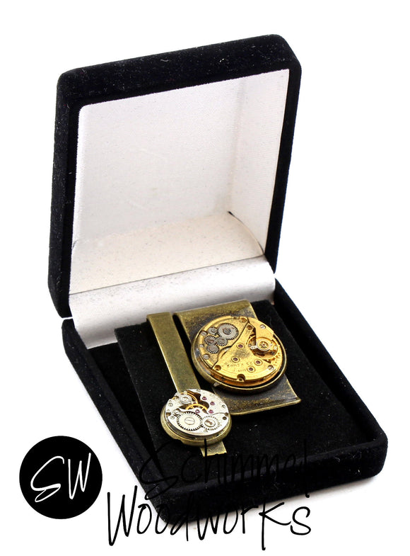 Mens Steampunk Tie Clip & Money Clip - Luxury Handmade Vintage Watch Movement Steampunk Tie Clip and Money Clip -  Gift for Father, for Wedding or Groomsmen! Comes in gift box