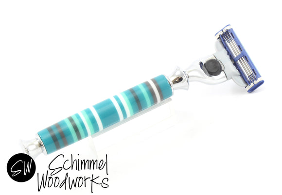 Handmade Schimmel Razor Mach 3 & Venus, Fusion Razor.  Great gift for him or her. Blue, Teal, White & Black Stripes. One of a kind!