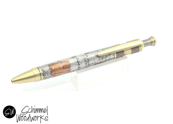 Handmade Schimmel Ballpoint Pen - Antique Brass Click Pen with Steampunk body - Comes in gift box - Aluminum and Copper Steampunk Pen