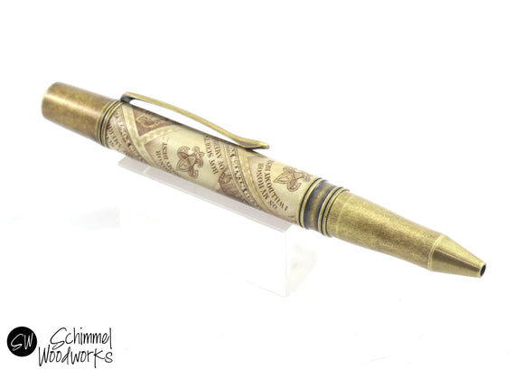 Handmade Schimmel Ballpoint Pen - Made with vintage Boy Scouts of America Stamps - Antique Brass metal details - Boy Scout pen - In gift box