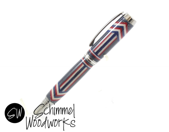 Handmade Schimmel Rollerball Pen - Red, White & Blue Jean Denim with Black Titanium metal accents - Comes in gift box