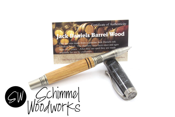 Handmade Schimmel Pen - Gentlemen's Rollerball Pen - Jack Daniels whiskey barrel wood with Antique Pewter pen - Comes in gift box