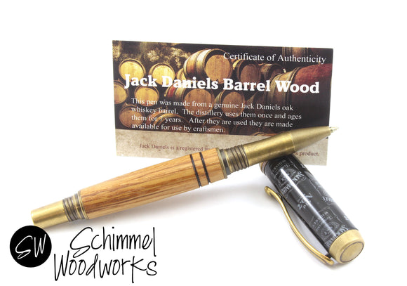 Handmade Schimmel Pen - Gentlemen's Rollerball Pen - Jack Daniels whiskey barrel wood with Antique Brass pen - Comes in gift box