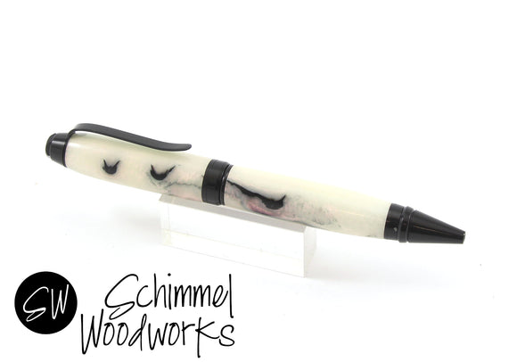 Handmade Schimmel Pen - Faux Mother of Pearl with Black metal accents  - Comes in gift box