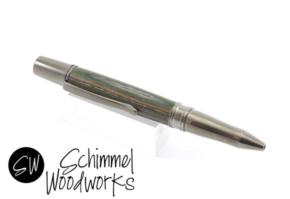 Handmade Schimmel Pen - Green and Brown Laminated Wood Pen paired with gun metal accents - Comes in gift box